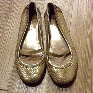 Coach gold ballet flats